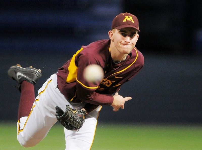 Minnesota's Ben Meyer pitches against Western Illinois on March 9, 2013, at the Metrodome.
