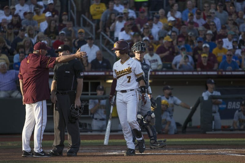 Head Coach John Anderson is upset with an umpire's call during the game against Canisius on Friday, June 1, 2018. The Gophers won 10-1.