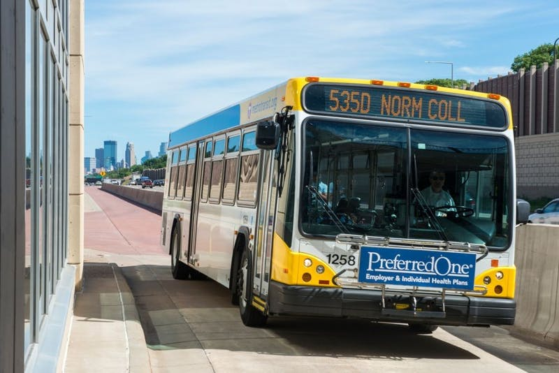 A bus bound for Normandale Community College pulls into the I-35W & 46th Street Station on August. 13, 2016.