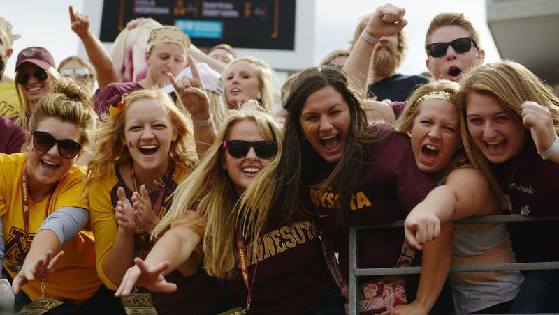 Students cheer for the Gophers against Western Illinois on Saturday, Sept. 14, 2013, at TCF Bank Stadium.