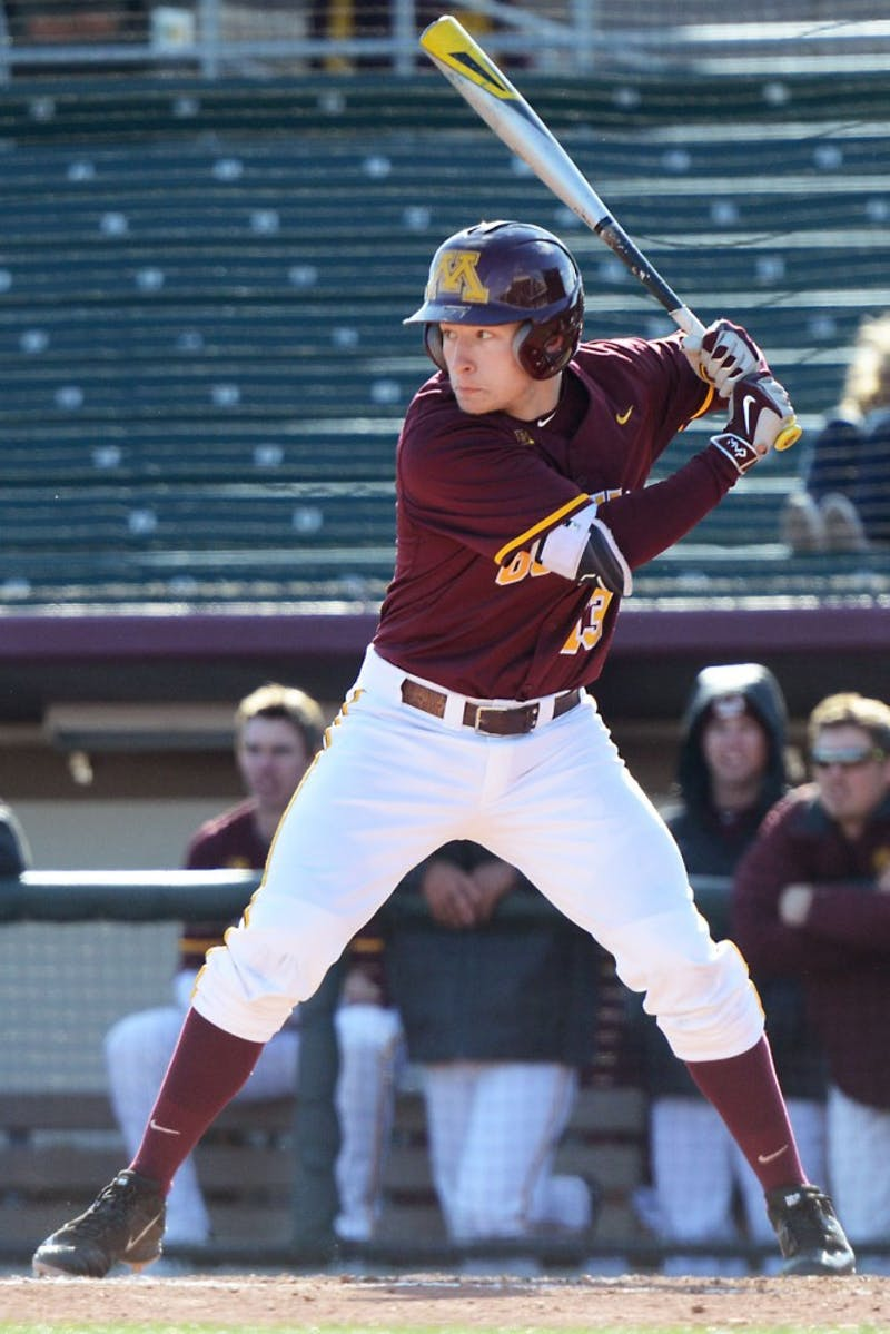 Sophomore Luke Pettersen prepares to bat at Siebert Field on April 1, where the Gophers faced the University of Iowa.