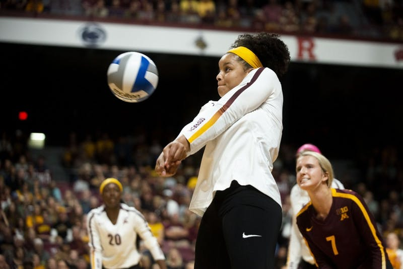 Outside Hitter Alexis Hart receives the ball at the Maturi Pavilion on Saturday, Sept. 7. The Gophers defeated Florida 3 sets to 0 for their home opener.