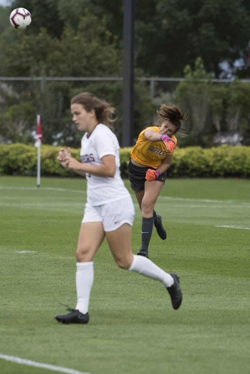 Goalkeeper Maddie Nielsen throws the ball back into play during the game against DePaul on Thursday, Aug. 30 at Elizabeth Lyle Robbie Stadium.