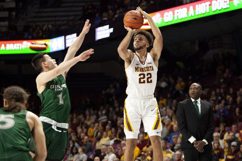 Guard Gabe Kalsheur shoots at Williams Arena on Tuesday, Nov. 5. The Gophers went on to defeat Cleveland State 85-50.