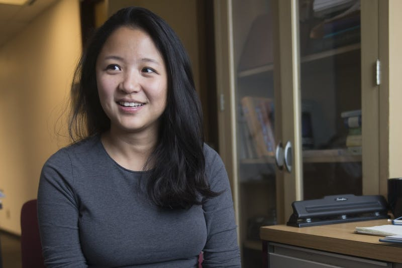 Doctoral student in Environmental Health Science Yang Liu poses for a portrait in her office on Tuesday, Oct. 10. Liu took fourth place in the CDC's 2016-17 flu forecasting competition and is preparing for this year's contest.
