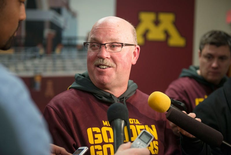 Minnesota head coach Jerry Kill speaks to the press about the announcement of the Gophers heading to Houston for the Texas Bowl against Syracuse at the Gibson-Nagurski Football Complex on Sunday night.