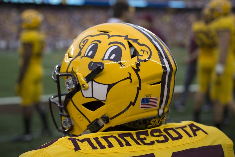 The Gophers' helmet against Middle Tennessee State on Sept. 16, 2017 was in celebration of Goldy Gopher's birthday.