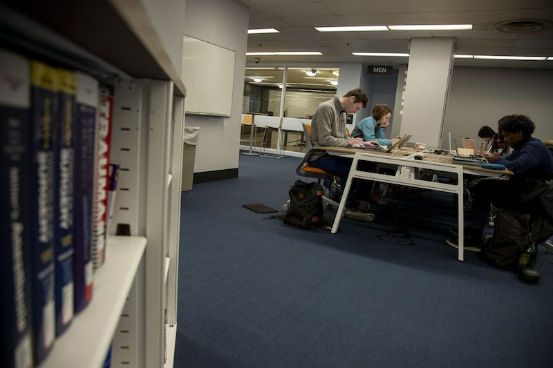 Students study in the Biomedical Library on Monday, Feb. 10.