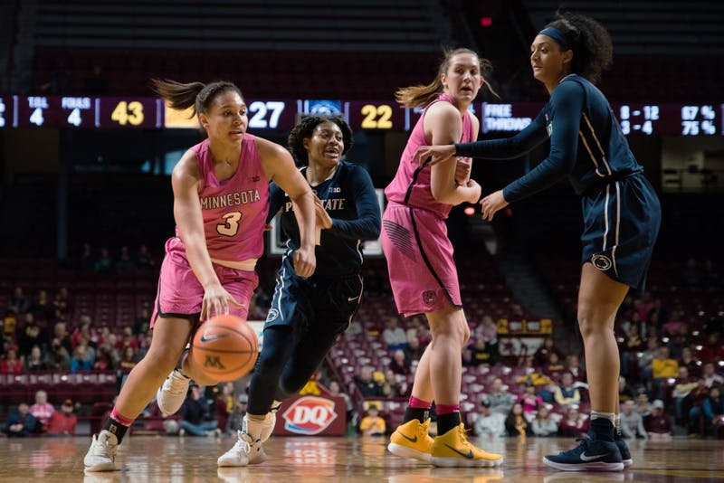 Gophers guard/forward Destiny Pitts dribbles the ball during Minnesota's game against Penn State on Sunday, Feb. 11.
