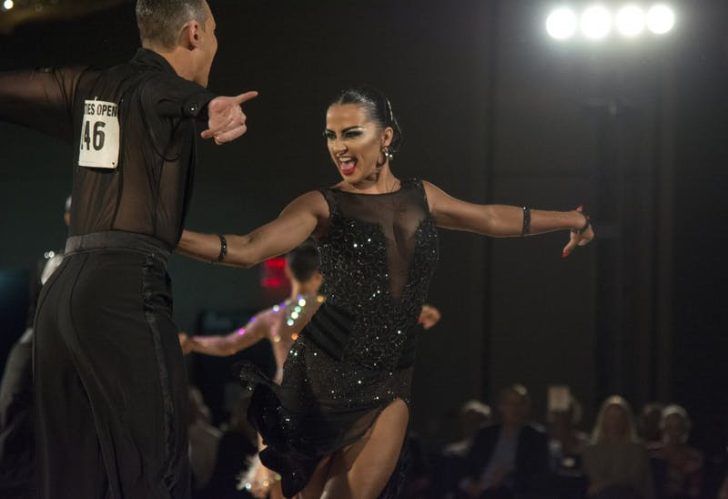 Oleksandra Kharchenko performs during the professional open Latin championship semi-final round at the Twin Cities Open Ballroom Championships at the Hyatt Regency in downtown Minneapolis on July 8, 2017. The competition hosted dancers from across the nation.