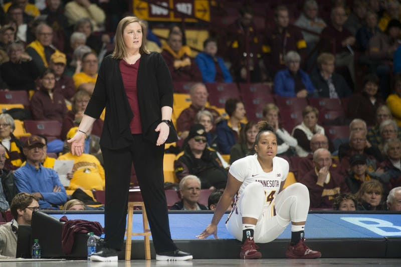 Head coach Lindsay Whalen reacts to a scored point at Williams Arena on Tuesday, Nov. 5. The Gophers fell to Missouri State 69-77.