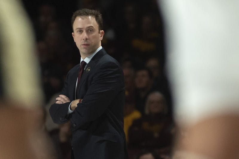 Gopher head coach Richard Pitino looks down the court on Tuesday, March 5 at Williams Arena.