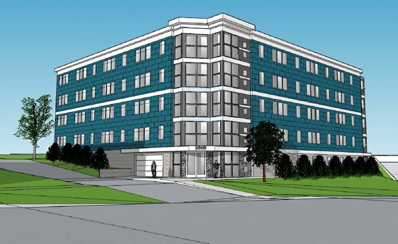 A rendering shows Elmwood Properties' new apartment building planned for 1040 Como Avenue.