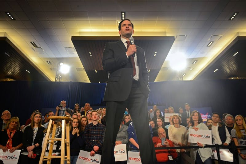 Presidential hopeful Sen. Marco Rubio speaks to supporters at a rally at the Hyatt Regency in downtown Minneapolis on Tuesday in anticipation of the March 1 presidential caucus.