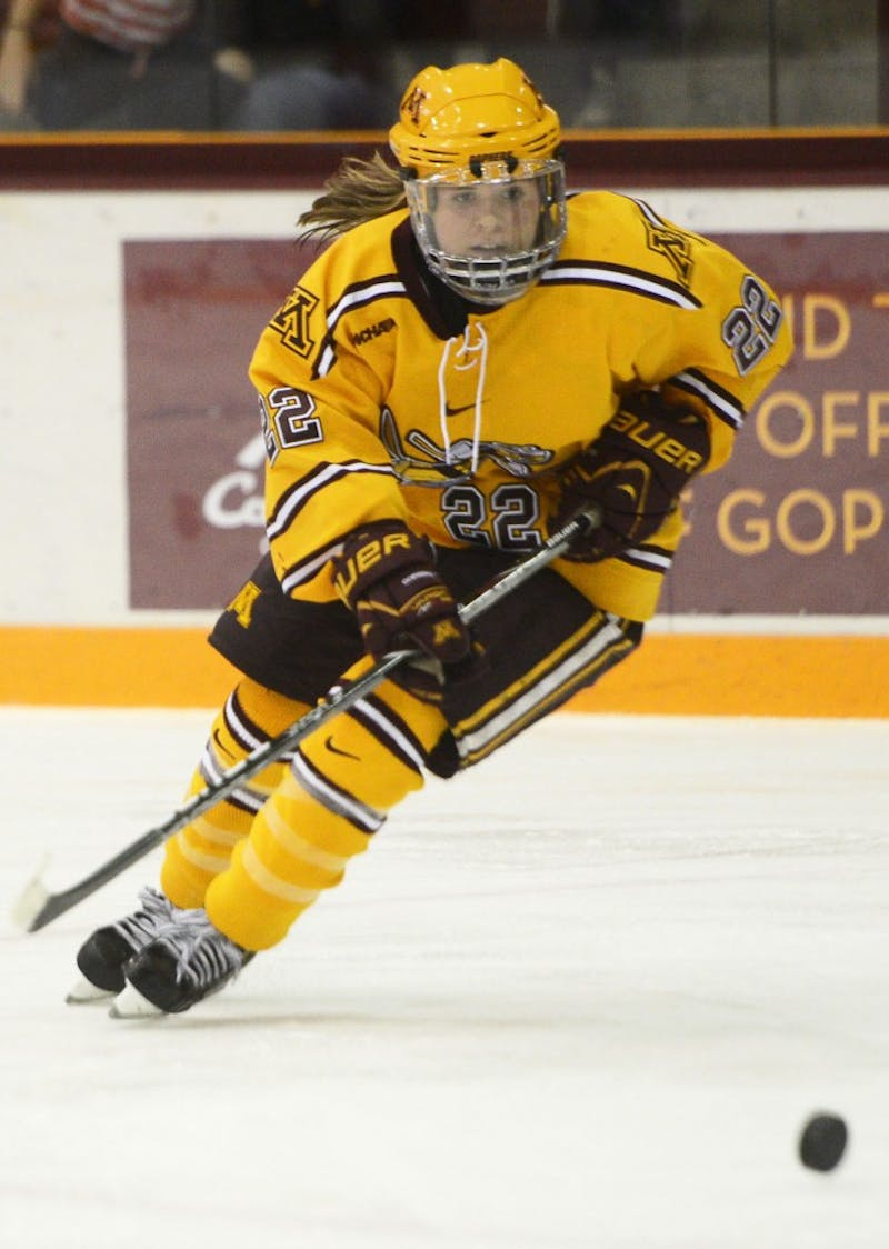 Minnesota forward Hannah Brandt skates against North Dakota on Sunday, Nov. 17, 2013, at Ridder Arena.