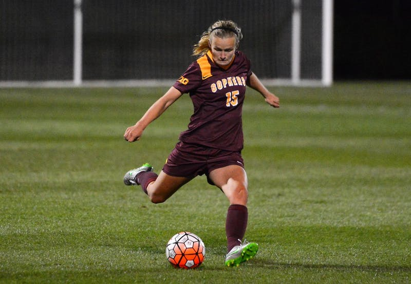 Sophmore Maddie Gaffney kicks the ball at the Elizabeth Lyle Robbie Stadium on Friday evening where the Gophers defeated the New Mexico Labos 1-0. Gaffney's goal was the first of her collegiate career.