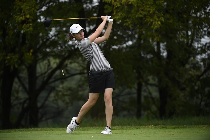 Round 1 of the women's ANNIKA Intercollegiate Golf Tournament at the Royal Golf Club in Lake Elmo MN, Sept. 16, 2018.  (Photo/Craig Lassig)