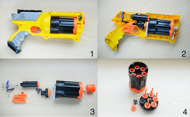#1. An assembled view of the Nerf Maverick REV-6.#2. An inside view of the Nerf Maverick REV-6 after removing the outer shell. #3. All firing mechanisms of the Nerf Maverick REV-6 displayed with cocking mechanism on the far left and the magazine on the far right.#4. An isolated view of the magazine separated into the dart housing and air restrictors.