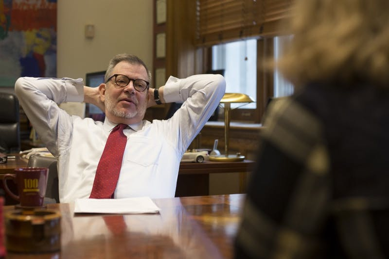 University of Minnesota President Eric Kaler is interviewed by the Minnesota Daily in his office on Friday, Dec. 1 at Morrill Hall.