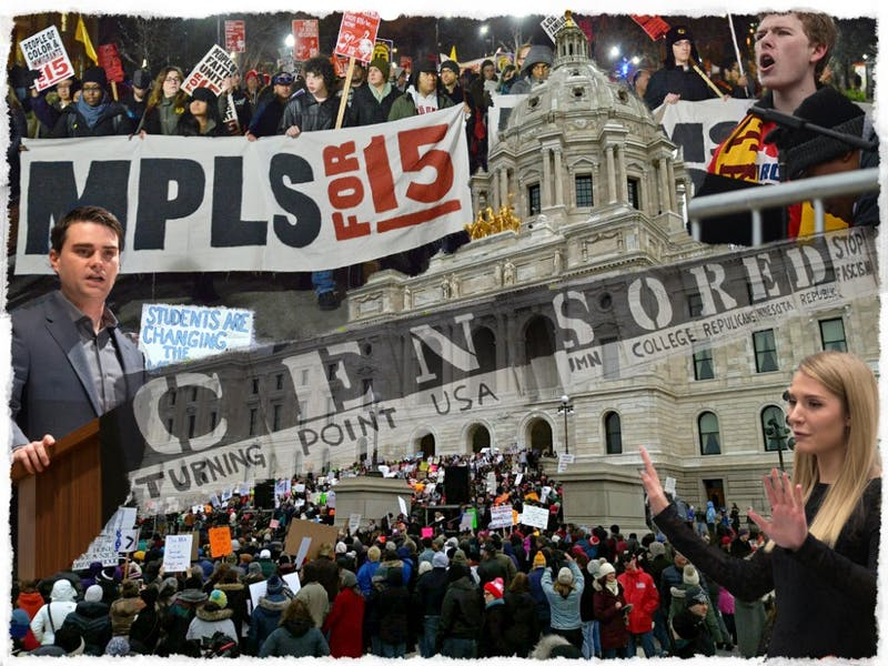 Photo illustration: A collage of images shot by Minnesota Daily photographers at University events where students say free speech was exercised or challenged throughout 2017 and 2018.