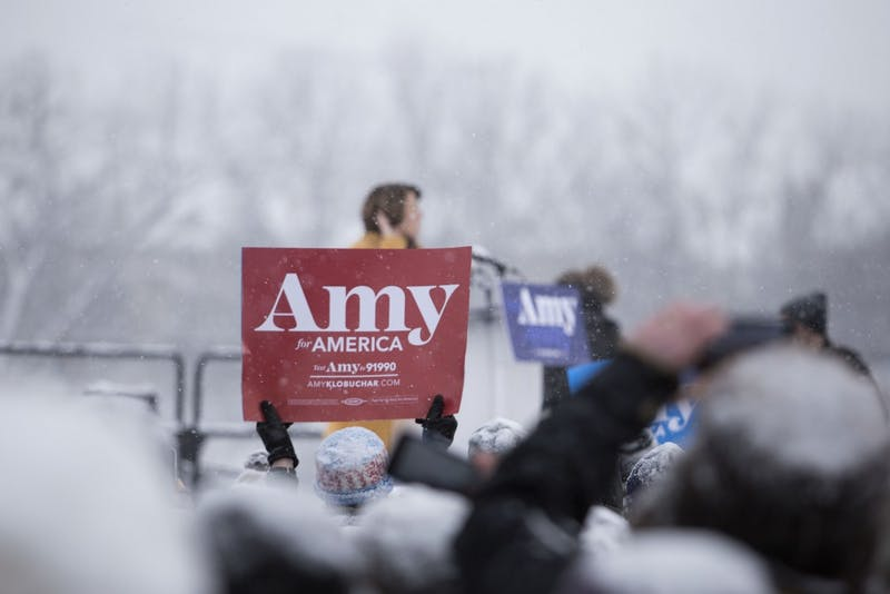The crowd cheers as Amy Klobuchar takes the stage at her presidential bid announcement on Feb. 10 at Boom Island Park in Minneapolis.