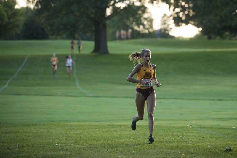 Redshirt Sophomore Anastasia Korzenowski holds the lead during the Oz Memorial on Friday, Sept. 6. Both Men's and Women's teams earned first place in the meet.