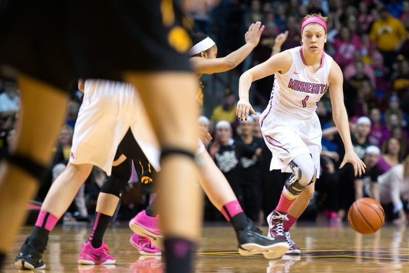 Minnesota guard Rachel Banham carries the ball at Williams Arena on Monday, Feb. 15. Banham recently signed to play with the Bendigo Spirit in Australia as a part of the WNBL.