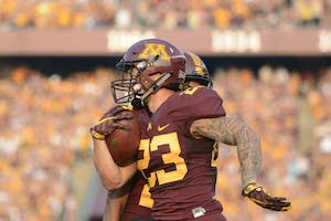 Running back Shannon Brooks runs through the open field on Thursday, Aug. 31 at TCF Bank Stadium. The Gophers beat Buffalo 17 to 7.