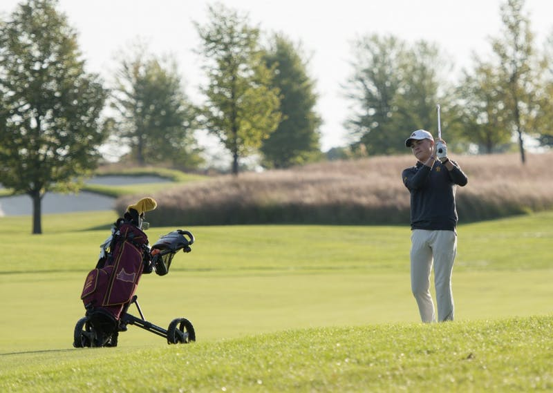 Freshman Lincoln Johnson plays during the Gopher Invitational on Sunday, Sept. 9 at Windsong Farm Golf Club in Maple Plain, Minnesota.