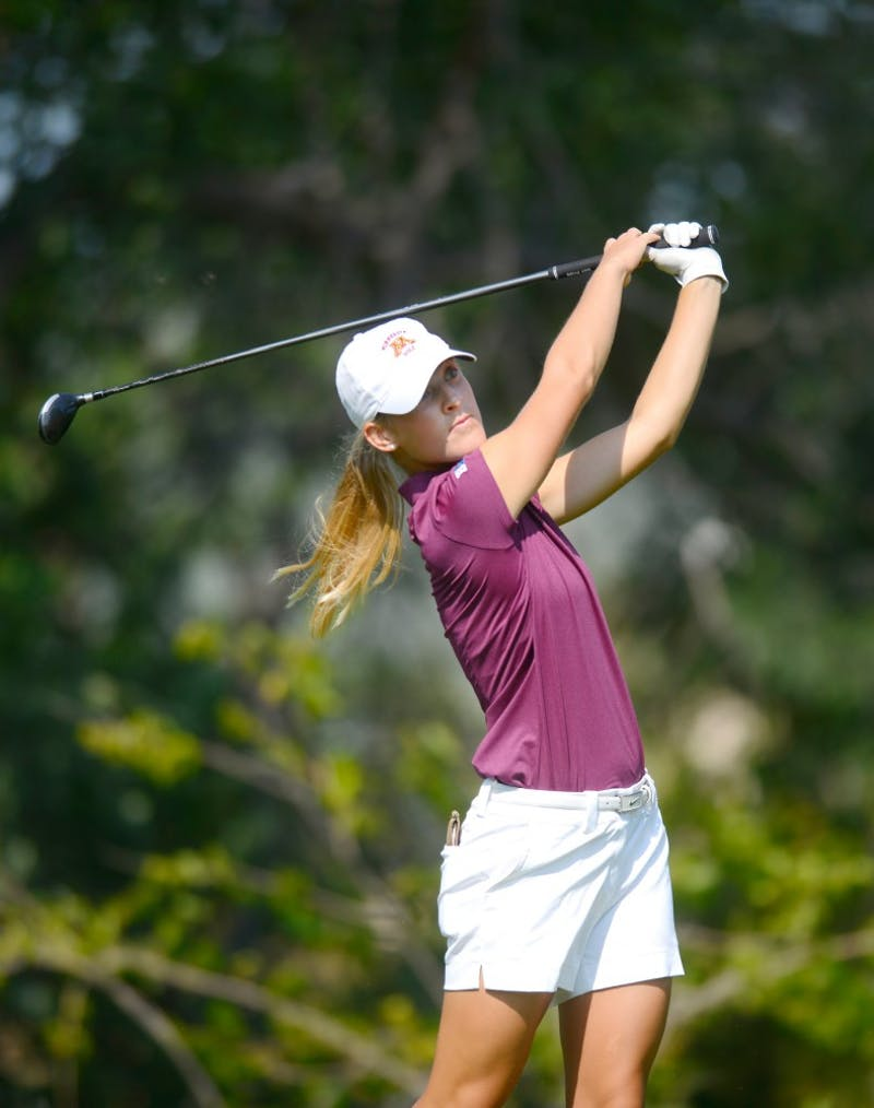 Gophers second year Celia Kuenster tees off at the Minikahda Club during the Minnesota Invitational on Tuesday, September 15.