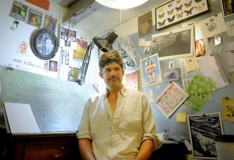 Comic book artist Zak Sally in his studio on Tuesday July 23rd, 2013.