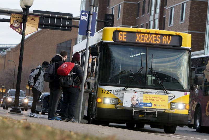 The Metro Transit 6 Bus is seen along 4th St SE on Monday, Nov. 26. The newly proposed E-Line, which would replace the 6, would be faster and more convenient.