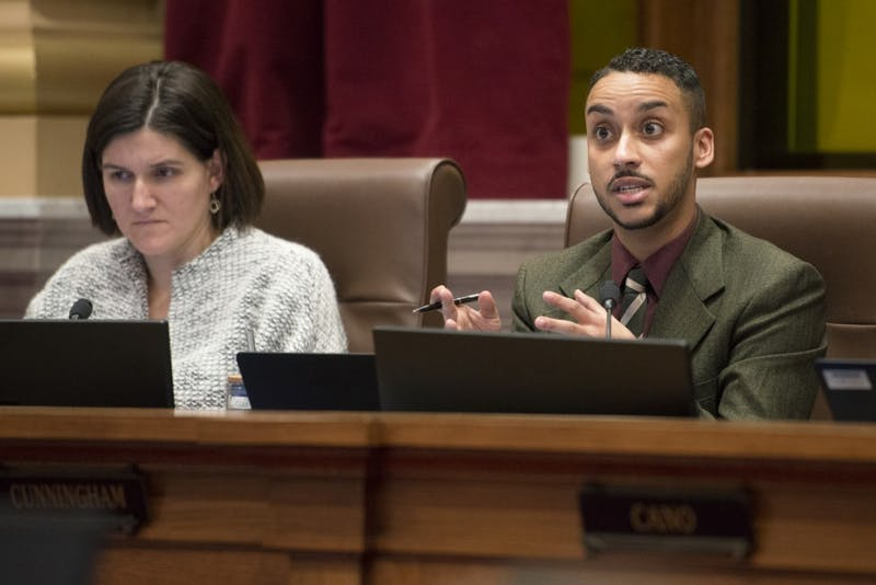 City Council member Phillipe Cunningham questions police chief Medaria Arradondo about the Minneapolis Police Department's Super Bowl safety plans during a council meeting on Thursday.