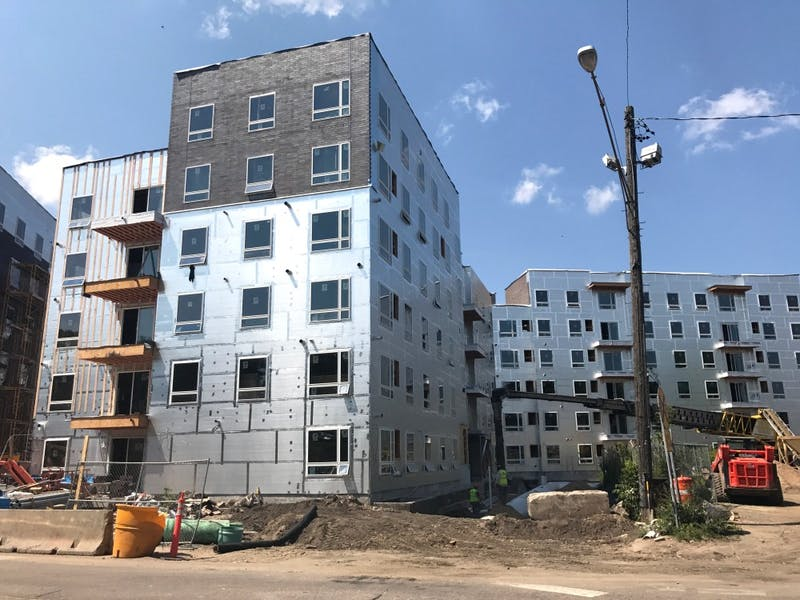 The Prime Place apartments under construction on Tuesday, Aug. 1, 2017. With fall approaching and the apartments still unfinished, lesses were offered the option to either annul their leases or wait until Dec. 29 and receive $1,500 in compensation.