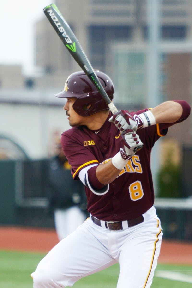Sophomore Micah Coffey prepares to bat during the Gophers game against South Dakota State at Siebert Field on Apr. 13.