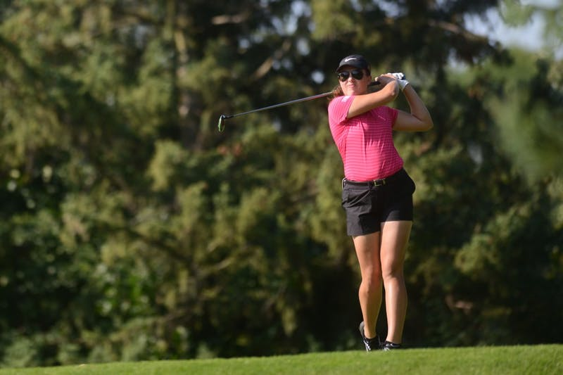Redshirt Christine Portillo tees off at the sixth annual Minnesota Invitational at the Prestwick Golf on Monday, Sept. 10. 2018.