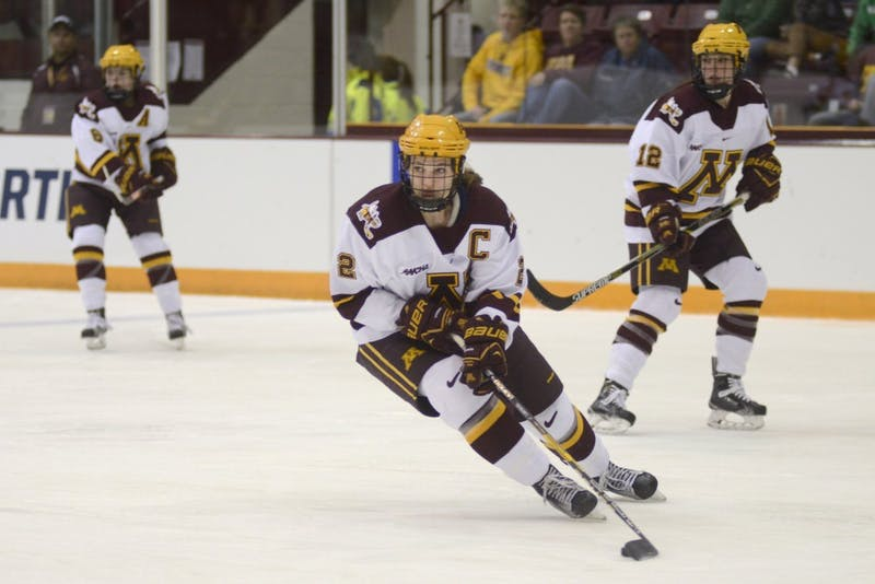 Redshirt senior Lee Stecklein handles the puck on Saturday, February 4, 2017 at Ridder Arena in Minneapolis.