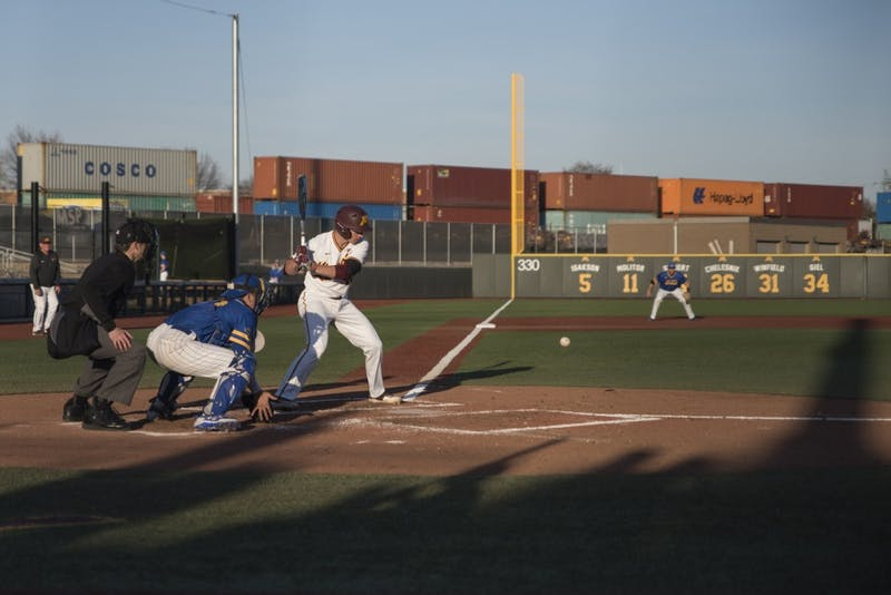 Junior Cole McDevitt eyes the pitch during the game on Wednesday, April 25 at Siebert Field.
