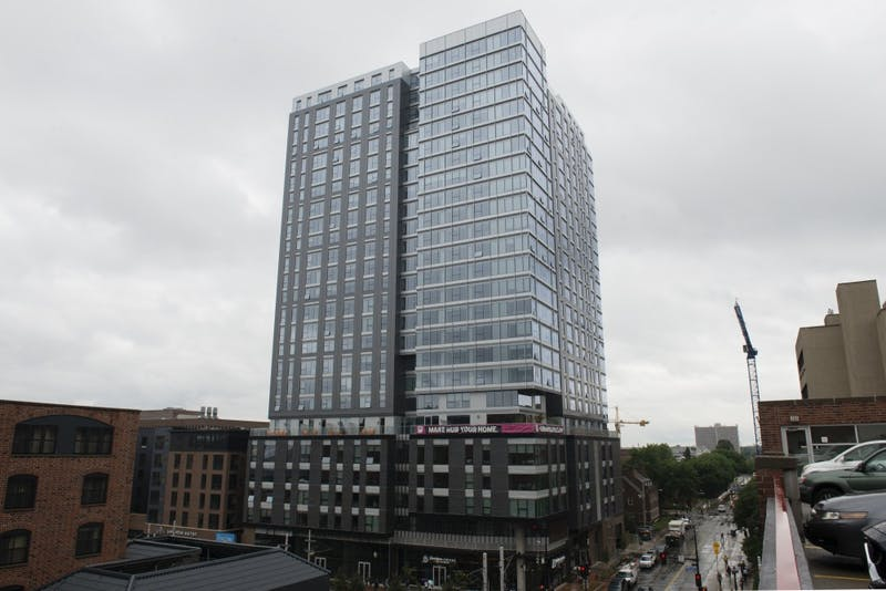 The Hub Minneapolis, which opened for tenants this summer, is seen near East Bank on Tuesday, Sept. 4. The building is 284 ft. tall.