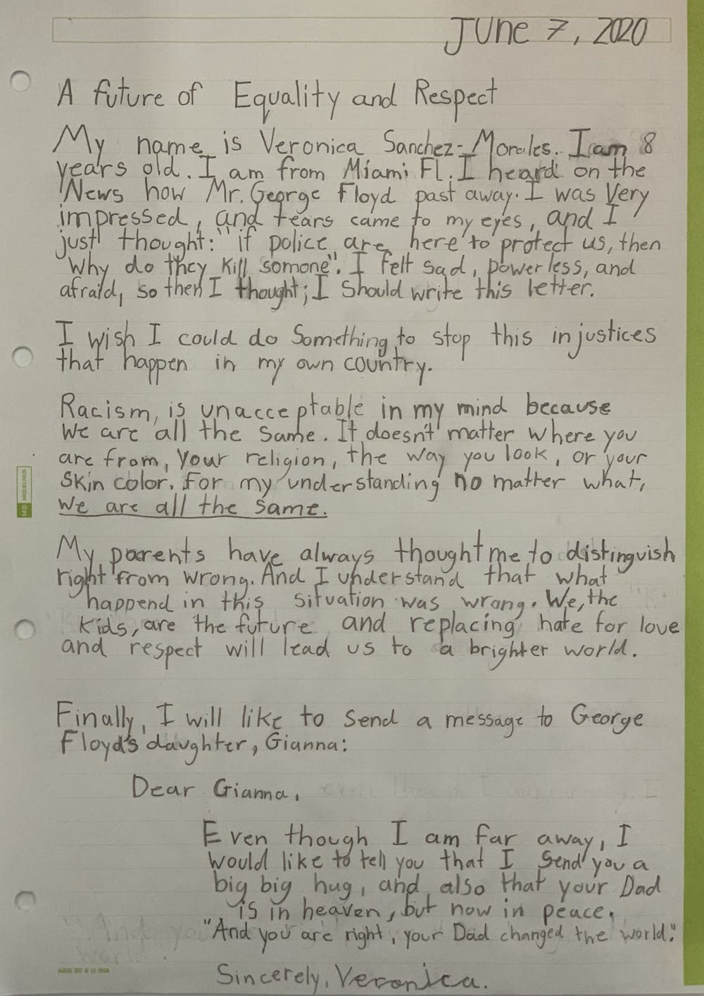 Letter to the Editor: An 8-year-old's reflections on George Floyd
