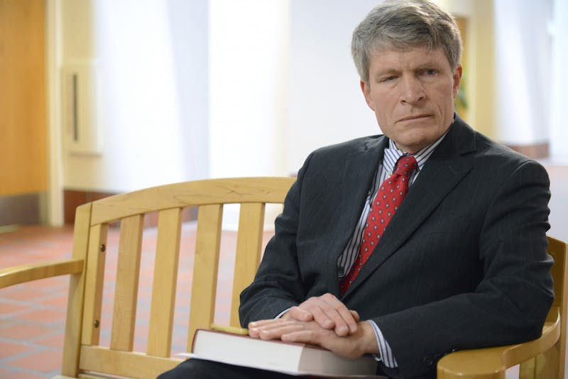 Professor Richard Painter answers questions in an interview at Mondale hall on West Bank on Tuesday, Feb. 7, 2017. Painter sits as vice-chair for the lawsuit against President Trump for allegedly violating the emoluments clause of the constitution.