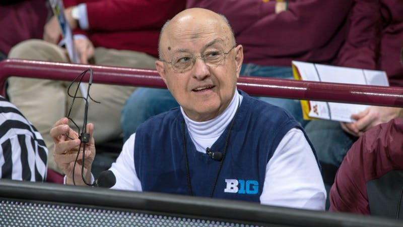 University of Minnesota public address announcer Dick Jonckowski at Williams Arena during a Gophers men