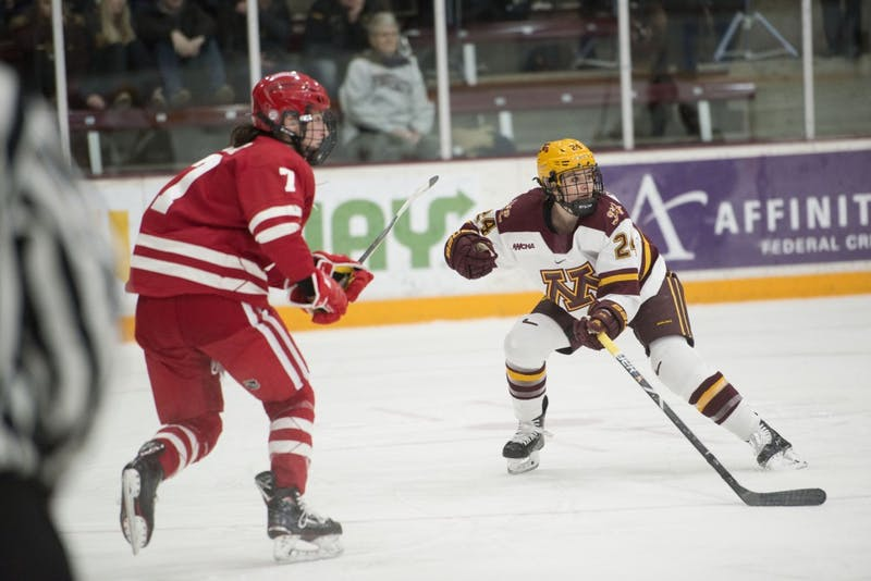Olivia Knowles gets ready to take the puck on Friday, Jan. 18, 2019 at Ridder Arena. The Gophers lost to the Wisconsin Badgers 2-1.