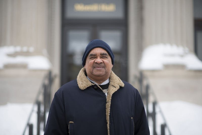 Horace Huntley, Ph.D., poses for a portrait outside of Morrill Hall, the site of the Morrill Hall takeover of 1969, on Monday, Feb. 25. The takeover, which Huntley was a part of, helped establish the department of African American and African Studies at the University.