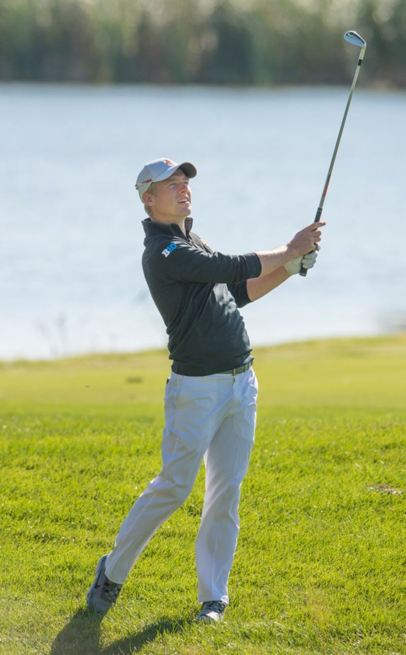 Runar Arnorsson plays at the Windsong Farm Golf Club during the Gopher Invitational on Sept. 13.