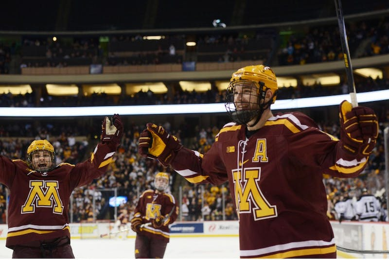 Gophers forward Seth Ambroz celebrates after scoring the first goal against the Mavericks at the 2nd Annual North Star College Cup on Jan 23, 2015.