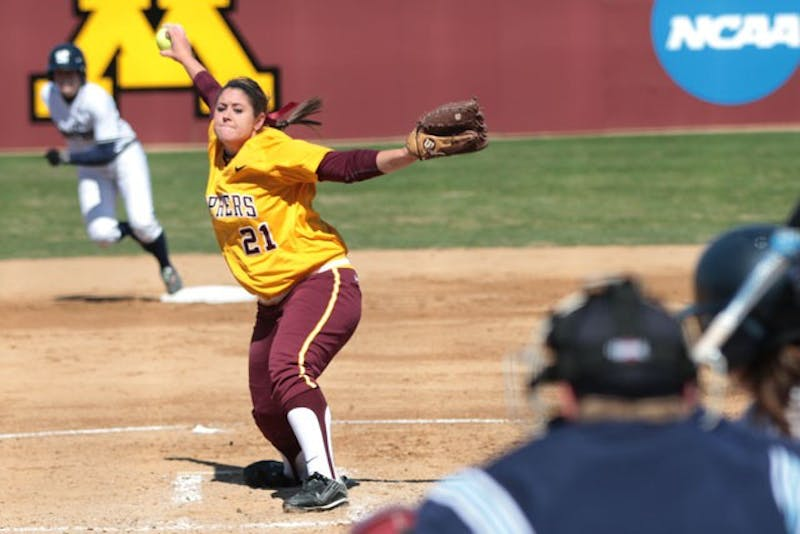 Freshman Sarah Moulton pitches against Penn State Sunday at Jane Sage Cowles Stadium.