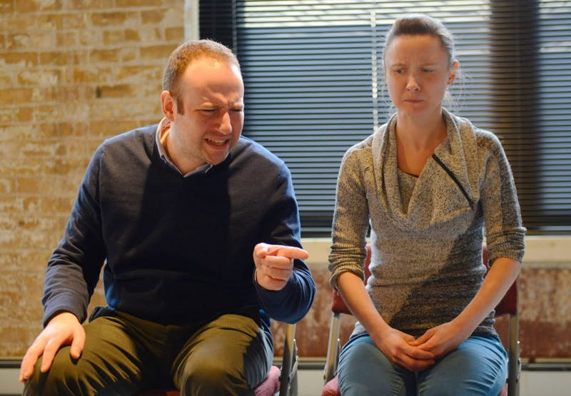"Performers Ryan Lindberg and Emily Zimmer rehearse a skit of ""Laughter in the Dark"" at the Nautilus Music Theater in St. Paul on Wednesday.  ""Laughter in the Dark"" is a collection of skits written during the Holocaust by prisoners  and will be performed in Ferguson Hall on April 3rd."