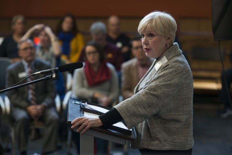 """Provost Karen Hanson addresses the opening of the """"We Are Water"""" exhibit on Friday, Sept. 12, at the Institute on the Environment."""