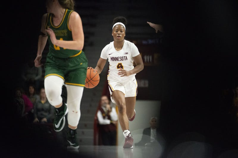 Guard Jasmine Powell brings the ball up the court at Williams Arena on Sunday, Nov. 10. The Gophers defeated Vermont 90-58.